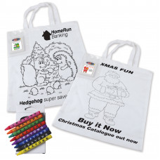 Kids Custom Colouring in Tote Bag with Crayons